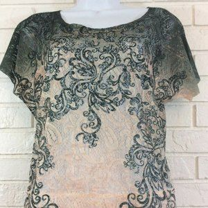Maurices Green and Cream Scroll Design Lace Shirt